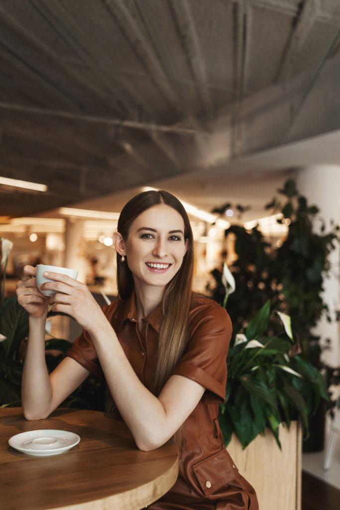 Resident enjoying cafe